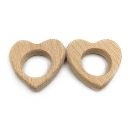 wholesale wood pendants Australia - 2019 New design Wholesale wood heart teether wood teether pendant 10cm Beech Wood Love Heart Teether for Babies