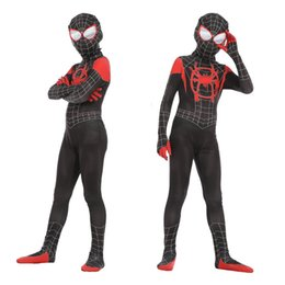 Wholesale anime sale clothes for sale – custom 2019 Hot Sale New Spider Man Tight Clothes Little Black Spider Cosplay Anime Costume New Era Spider Man Parallel Universe Kid suit