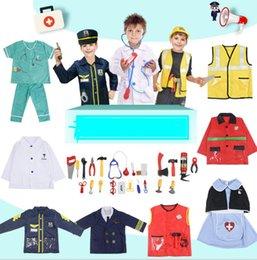 police cosplay 2019 - Cosplay Job Worker Costume Set Child Occupational Engineering Role Fireman Doctor Nurse Vet Police Dress up Cosplay Prop