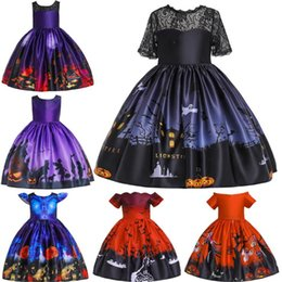 girls tutu dresses 12y 2019 - Halloween Party Dress Girls Dresses Princess Lace Punpkin Witch Clothes Ball Gown For Girl Dress Halloween Style Costume