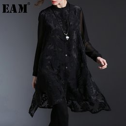 Wholesale EAM New Spring Summer Stand Collar Long Sleeve Perspective Organza Split Joint Loose Shirt Women Blouse Fashion JO513