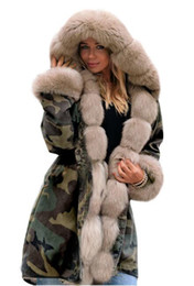 leather sleeve patches UK - Free shipping Slim warm women's camouflage jacket Europe and the United States long fur collar hooded coat cotton sexy fashion