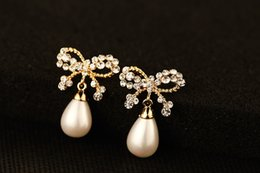gold bow earrings pearls UK - Wholesale-New trendy fashion luxury designer cute beautiful crystal diamond rhinestone bow pearl stud earrings for woman