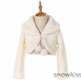 Boleros For Wedding Dresses UK - White ivory Long Sleeve Warm Wedding Cloak Fur Trim Junior Bridesmaid Cape for communion dress flower girl jacket Bolero