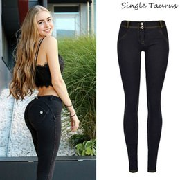 bleach crystals NZ - Low Waist Push Up Jeans Women Streetwear Skinny Pencil Pants Femme Fashion Super Stretch Slim Soft Legging Denim Pants Mujer