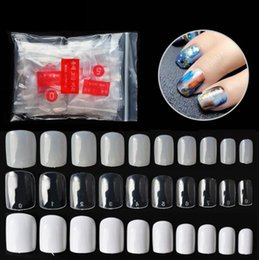 Full color Fake nails online shopping - HugMee Nail Patch Square Painted Round Head Fake Nail Piece Natural Transparent Color Nail Art DIY M0122