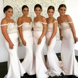 T Shirt Under Shoulder Australia - Mermaid Bridesmaids Dresses Off The Shoulder Neck Illusion Country Satin Long Sleeves White Lace Applique Off Shoulder Wedding Guest Gowns