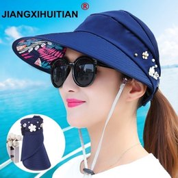 $enCountryForm.capitalKeyWord Australia - New Simple Women Summer Beach Hats Pearl Packable Sun Visor Hat With Big Heads Wide Brim Uv Protection Female Cap C19041001
