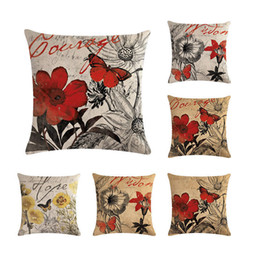 Painting oil Paints online shopping - Realistic Oil Painting Style Retro Flower Cushion Cover Linen Cotton Pillow Case for Sofa Car Home Decoration Chair Gift ZY242