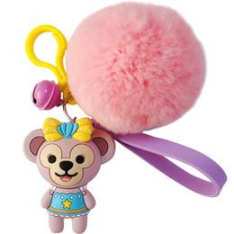 $enCountryForm.capitalKeyWord UK - DIY Daffy Bear Shirley Rose Keychain Korea Cute Pompom Key Chain Couple Car Bag Hair Ball Pendant Keychain Fur