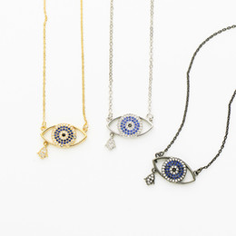 $enCountryForm.capitalKeyWord Australia - CZ Zircon Evil Eye Pendant Necklace with Hamsa Hand Charm Copper Chain Trendy Necklaces & Pendants Women Jewelry Gift