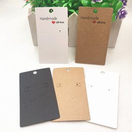 Wholesale 20Pcs Kraft hand made with love Earring Display Cards Ear Nail Wrapping Packaging Paper Cards