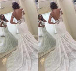 Wholesale new summer stylish dresses resale online – New Stylish Lace Mermaid Wedding Dresses Spaghetti Backless Illusion Sweep Train Castle Chapel Bridal Gowns Country Church Vestidoe De Noiva