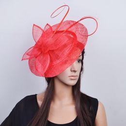 50ba5ba0d75a5 Sinamay Big Wedding Hats UK - Red Big sinamay fascinator hat net fascinator  with long ostrich