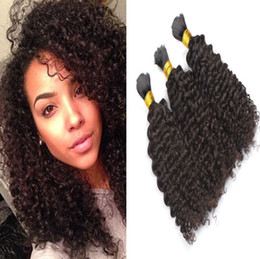 Discount afro kinky bulk braiding hair - Brazilian Afro Kinky Curly Human Braiding Hair 9A 3pcs lot No Weft Bulk Hair For African American Unprocessed Natural Bl