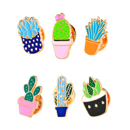 Plants For Gifts Australia - Lovely Cartoon Potted Succulents Plant Cactus Brooch Pins Shirt Denim Jacket Pin for Women Kids gift Enamel Brooches Lapel pin