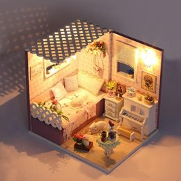 Wholesale DIY Doll House Furniture Diy Miniature Dust Cover Voice Control Light Miniature Wooden Doll House Assembly Toy Ornaments Kit