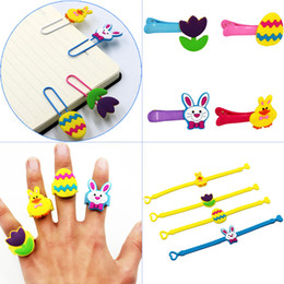 $enCountryForm.capitalKeyWord Australia - Kids Easter Silicone Rings Hairpins Bracelets 4 styles Bunny Egg Duck Flower shaped Rings kids soft PVC finger toys inner diameter 2cm rings