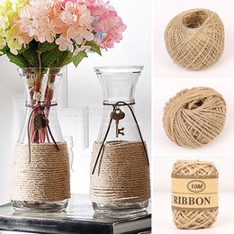 wrap cords Australia - oe & Garden 10m 50m 100m Natural Jute Twine Burlap String Linen Rope Party Wedding Gift Wrapping Cords Thread DIY Scrapbooking Florists P...