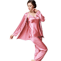 silk naturals UK - Lace Silk Pajama Pants Set Ladies Womens Long Sleeve nightshirts trouser suit three - piece Homewear Clothes For Women