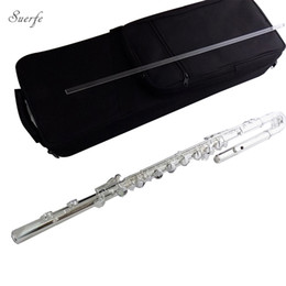 hole flute 2019 - Bass Flute 16 Closed Holes with Case C key Cupronickel Flutes Silver Plated wind Musical Instruments Professional cheap