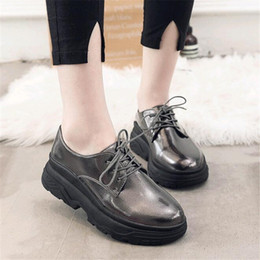 Designer Dress Shoes Autumn Women New Patent Leather Round Retro British  Style Lace Up Thick Sole Muffin Bottom 38544a5f3fd1