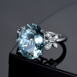 supports ring NZ - New Fashion Wedding Rings For Women Solitaire Birthday Platinum Gem Diamond Ring Natural Sea Blue Topaz Butterfly Ring Support wholesale