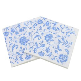 Discount cotton pulp - Color Printed Black Background White Flower Pattern Original Wood Pulp Napkin Portable Home Kitchen Textile Finished Sup