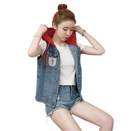 $enCountryForm.capitalKeyWord Australia - Plus Size 5XL Women's Vest Short Red Hooded Vest For Women Sleeveless Loose Coat Female Summer Denim Jacket Casaco Feminino