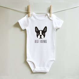 best canvas prints Australia - DERMSPE Infant Newborn Baby Boy Girl Short Sleeve Best Friends Cute Dog Print Romper Jumpsuit Outfits Summer Baby Clothes