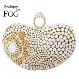 white wedding handbags Canada - Boutique De FGG Pearl White Women Evening Bags and Clutches Formal Dinner Ladies Party Crystal Handbags Bridal Wedding Purses