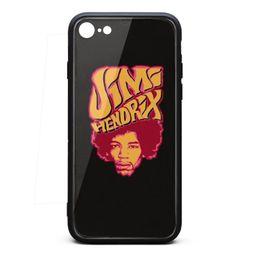 Bumpers Phone Cases UK - IPhone 8 Case,iPhone 7 Case Jimi Hendrix 9H Tempered Glass Back TPU Bumper Shock Absorption Phone Case