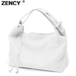 $enCountryForm.capitalKeyWord Australia - Zency 100% Soft Genuine Leather Women Handbag Top Handle Bag Real Cowhide Ladies Casual Tote Shoulder White Silver Gray Red Bags Y19052801