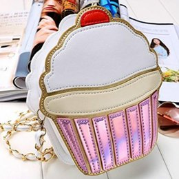 mini halloween cupcakes Australia - Hot Ice Cream Bag Fashion 2D Funny Ice Cream Cupcake Handbag Messenger Zipper Bag Purse Crossbody Splicing Messenger Body Key Bag