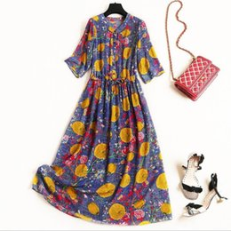 1b9cfd00217 European and American women s clothing 2019 summer new style 5 minutes of  sleeve Fruit printing Fashionable silk dress
