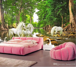 Discount forest backdrops Custom size 3D Custom Mural European Myths Unicorn In The Forest River Photo Wallpaper Living Room Sofa Backdrop Wall Paper Home Decoration