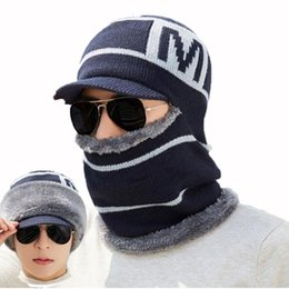 knit beanies brim UK - Men Winter Hat And Scarf Set For Women Male Hooded Cap Scarves With Brim Knit Visor Beanies Balaclava Adult Warm Stripe Bonnet