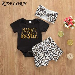 baby leopard print t shirt NZ - Keelorn Fashion Infant Baby Girls Summer Outfits Clothes Sets 2pcs Leopard Print T-shirt Top With Shorts Outfit New Boy Clothing