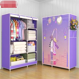 Discount pad assembly - Simple wardrobe fabric art steel frame assembly storage wardrobe folding cabinets