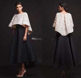 $enCountryForm.capitalKeyWord Australia - Black White Krikor Jabotian Evening Dresses Two Pieces Ankle Length Half Sleeves Prom Dresses With Jacket Formal Dresses Real Image