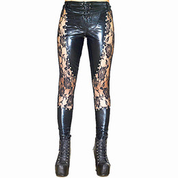 Pantalones de cuero delgados Lace Up mujeres Hot Sexy Lingerie Latex Leggings Negro Lace Up Leggings Remaches Clubwear Sexy Pole Dance Fetish