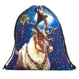 Santa Claus Prints Australia - 2019 Christmas Candy Gift Bag Bundle Pocket Santa Claus Snowman Printed Bags Backpack Mochila Feminina Backpack Women Bag