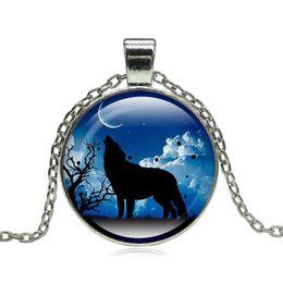 $enCountryForm.capitalKeyWord Australia - Fashion Wolf Moon Pendant Necklace Glass Cabochon Silver Retro Pendant Necklace Men Women Jewelry Lovers Gifts