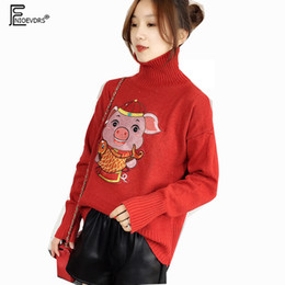 Discount cute print sweaters - New Year Turtleneck Tops Printed Cartoon Printed Red Knitted Pullovers Sweater Long Sleeve Cute pig Top Turtleneck Sweat