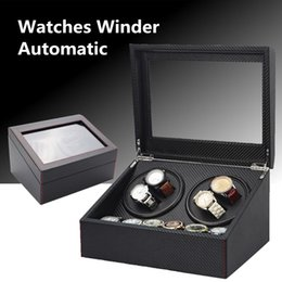 Wholesale Black Automatic Watch Winder Wooden Dual Automatic Motor Storage Case Box Organizer Display Rack Stand Watch Box