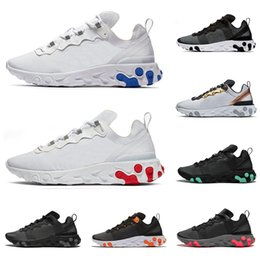 Discount reacts sneaker New React Element 55 top quality men women running shoes triple black white green Orange ROYAL RED mens trainers sports