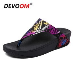women sexy flip flops Australia - Fashion Trend Sexy Ladies Flip Flops Colorful Print Wedge Slippers Platform Indoor Office Shoes For Women 2018 New Summer Sandal