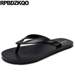 Slide Sandals Australia - designer shoes men high quality outdoor beach luxury genuine leather italian slippers sandals flip flop soft summer slides black