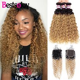 $enCountryForm.capitalKeyWord Australia - Bestsojoy Ombre Peruvian Kinky Curly Hair T1B 27 Black To Blonde Hair Weave 3 Bundles With Closure Ombre Virgin Kinky Curly Hair