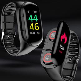 Discount m1 bluetooth - M1 Ai Smart BT Dual earbuds Bracelet SH30 Smart Bracelet headset Tws Android IOS Fitness Bracelet Heart Rate Pedometer W